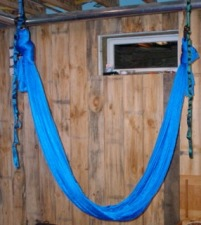 Aerial Yoga Hammock: hung from double point  (similar to the AntiGravity yoga hammock)